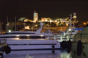 Cannes Old Harbour with new yacht