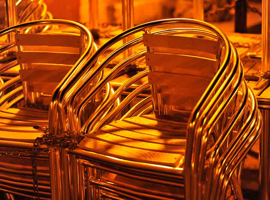 Cafe chairs at night