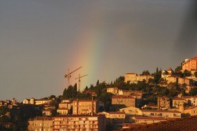 Rainbow and golden hour in Grasse