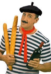 Frenchman with beret bread and wine