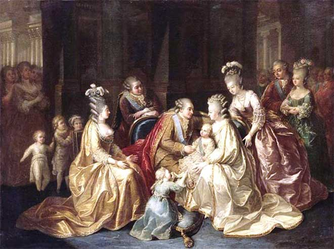Marie Antoinette  in a royal family scene