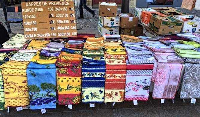 Prints of Provence, fabrics on a marketstall