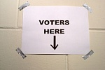 """Voters here"" sign"