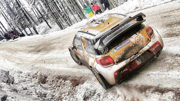 Monte Carlo Rally on snowy roads